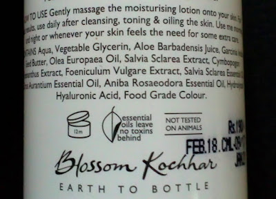 Blossom Kochhar Aroma Magic Clary Sage Moisturising Lotion is a lightweight moisturiser for combination skin. It is a blend of vitamins, minerals, aloe vera, neroli, clary sage which calms and revitalizes dry patches without making skin oily. Enriched with SPF 15 that minimises sun damage Aroma Magic Clary Sage Moisturising Lotion is a blessing for combination skin type.