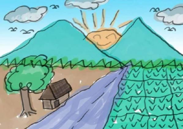 Nostalgia gambar Lukisan Pemandangan Sawah Masa kecil