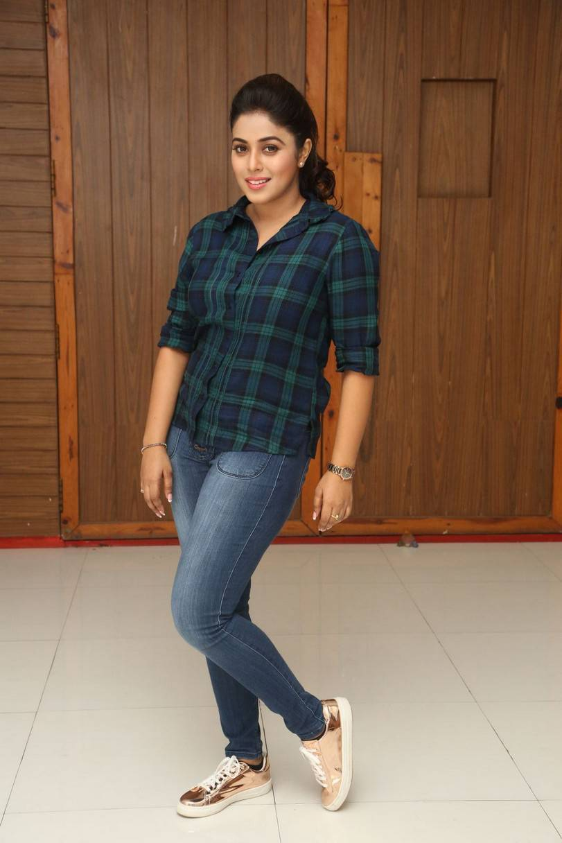 Actress Poorna At Movie Interview In Blue Shirt Jeans