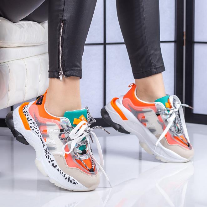 Pantofi dama sport dama portocalii la moda cu talpa groasa ieftini