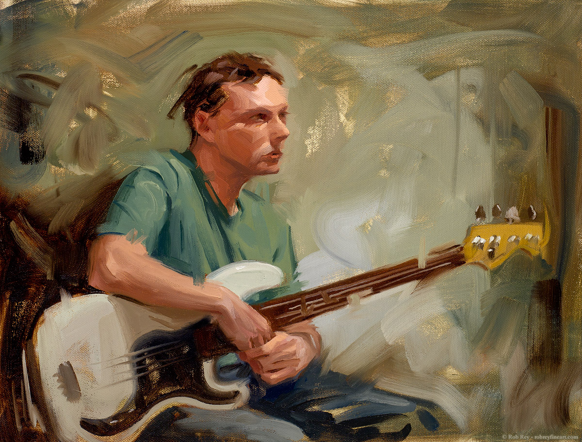 Bass Player by Rob Rey - robreyfineart.com