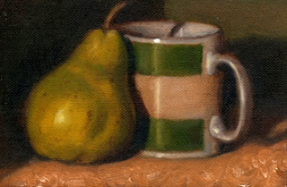 Oil painting of a green pear beside a Penguin Books crime fiction coffee mug.