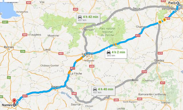 Trajeto de Paris a Nantes