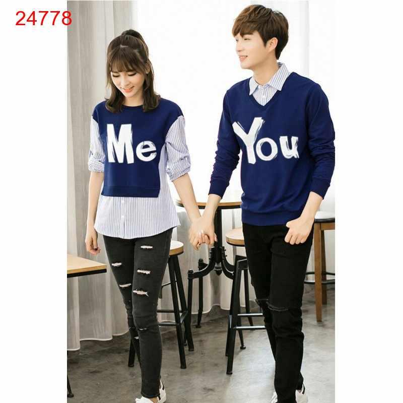 Jual Sweater Couple Sweater You Me Kombinasi Navy - 24778