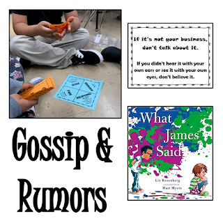 Lesson plan on Gossip & Rumors with a studen pic participating in an activity, cover of the book What James Said and an example of a task card.