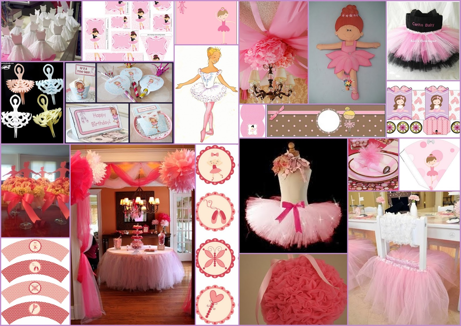 15 a os de ballet decoraci n kits para imprimir gratis for Decoracion de pared para quinceanera