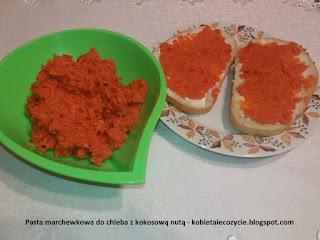 Pasta marchewkowa do chleba z kokosową nutą, pasta do chleba, pasta marchewkowa, marchewka i kokos, zamiennik kanapek z szynka i serem