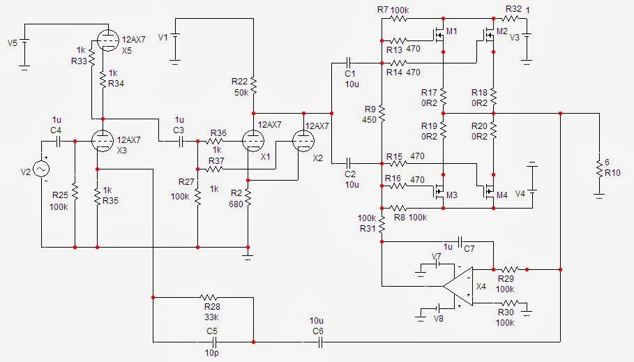 espritaudio  hybrid power amplifier using 12ax7 as input