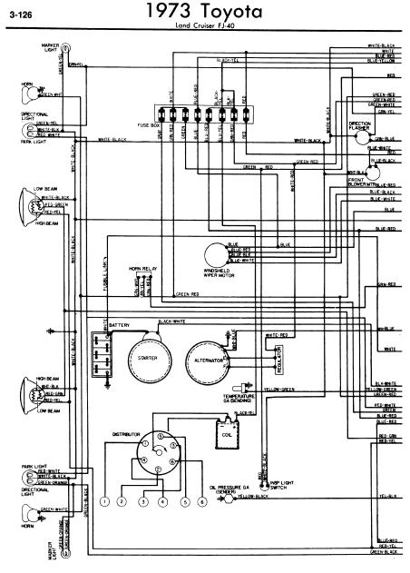 repair-manuals: Toyota Land Cruiser FJ40 1973 Wiring Diagrams
