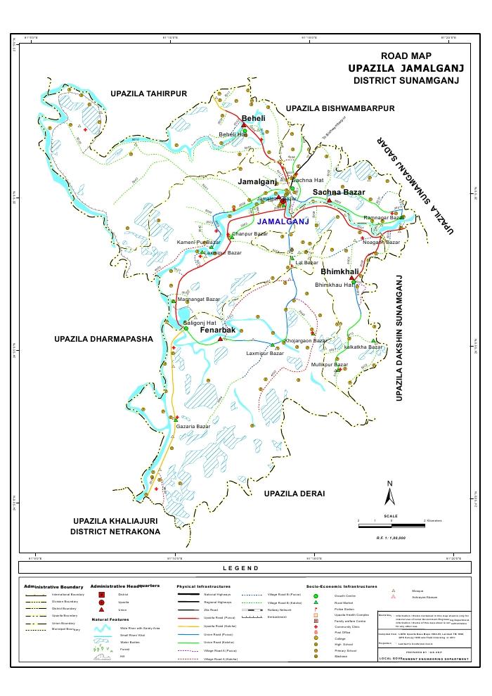 Jamalganj Upazila Road Map Sunamganj District Bangladesh