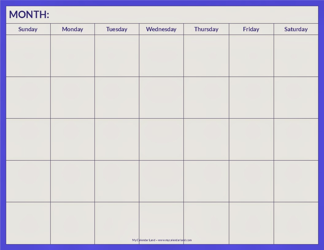 blank calendar pages to print free