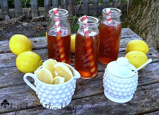 lemons hobnail milk glass creamer red striped straw vintage milk bottles