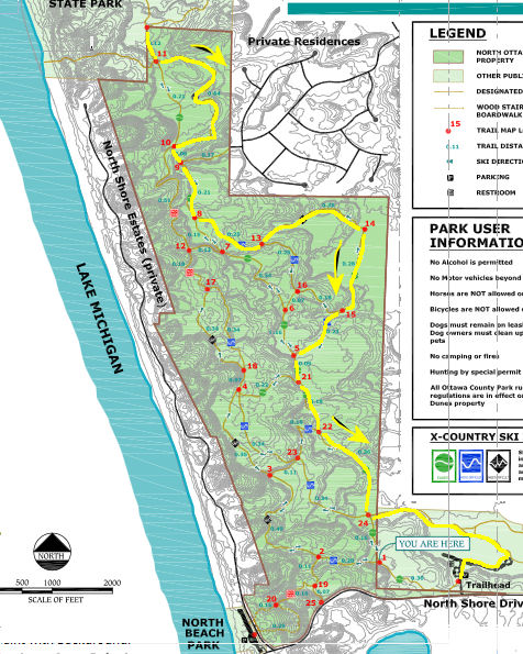 Hoffmaster State Park trail route