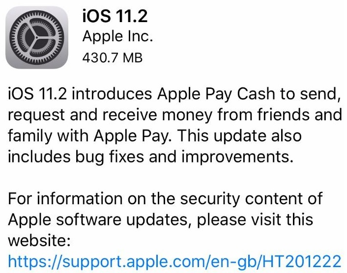 Apple iOS 11.2 Features Changelog