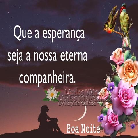 Que a esperança seja   a nossa eterna   companheira.  Boa Noite!