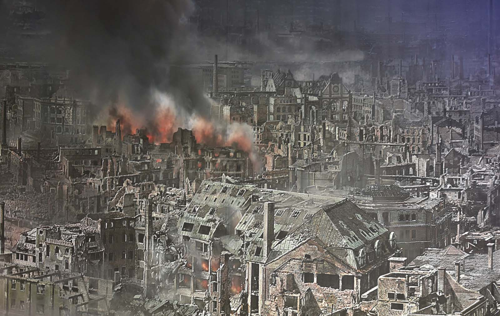 A general view of the a panorama display depicting the city of Dresden in the aftermath of the 1945 Allied firebombing.