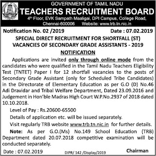 TRB Special Recruitment Notification 2019 - Secondary Grade Assistants