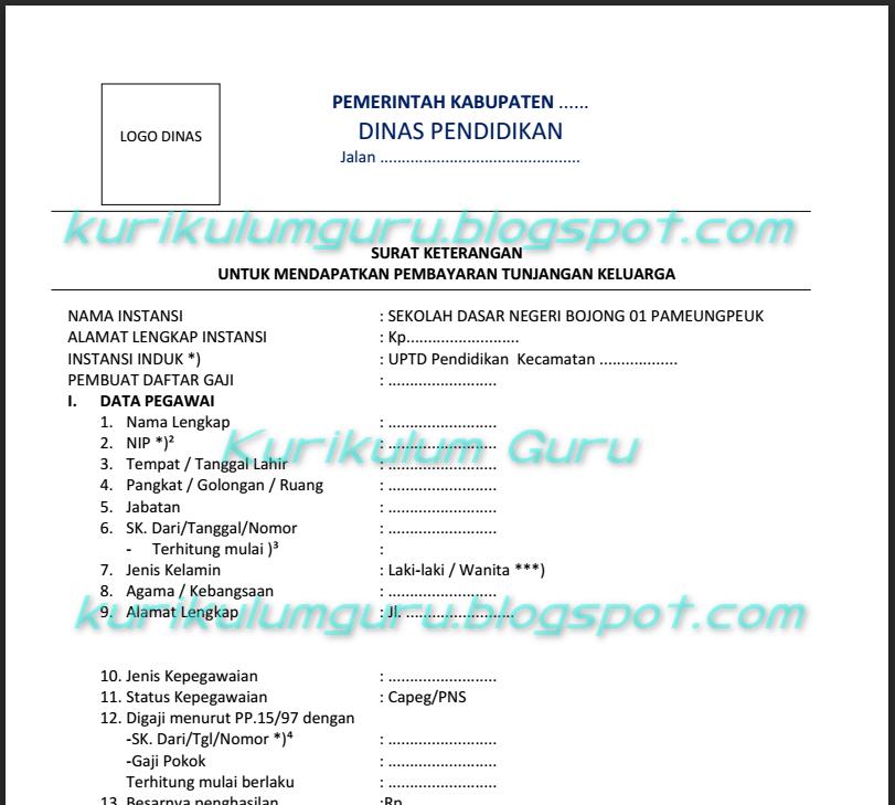 Download Contoh Formulir Skumptk 2016 Terbaru Kurikulum Guru