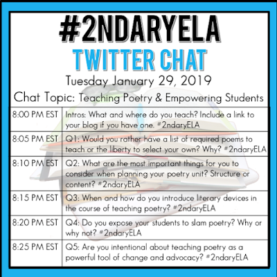 Join secondary English Language Arts teachers Tuesday evenings at 8 pm EST on Twitter. This week's chat will be about teaching poetry & empowering students.