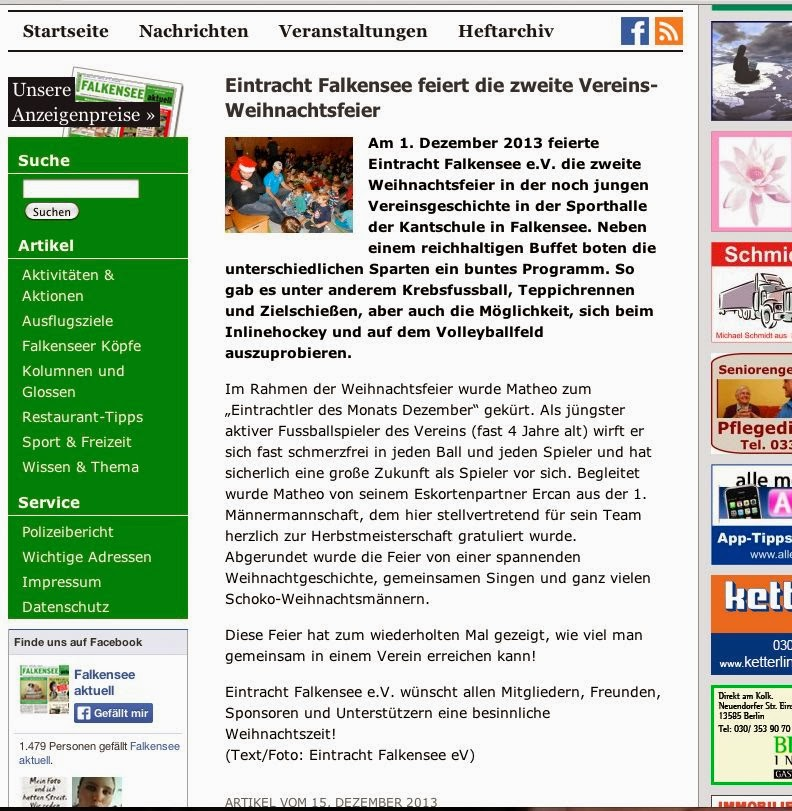 Beitrag Zur Weihnachtsfeier.Falkensee Aktuell Eintracht Falkensee Feiert Die Zweite Vereins