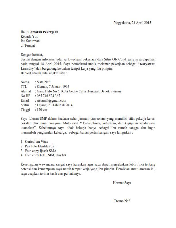 contoh surat lamaran kerja filetype doc