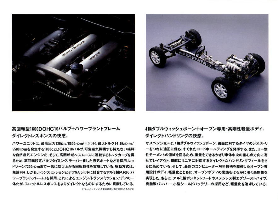 Mazda MX-5, Miata, Eunos Roadster, kultowy, legendarny, budowa, podwozie, silnik, 日本車, スポーツカー, オープンカー, マツダ, Jinba Ittai