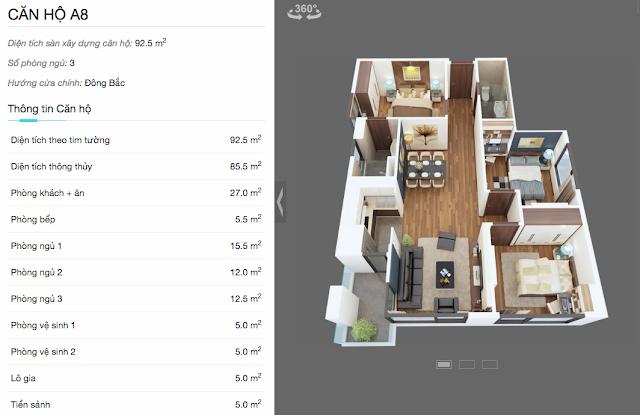 Thiết kế chi tiết căn hộ A8 chung cư The Legend