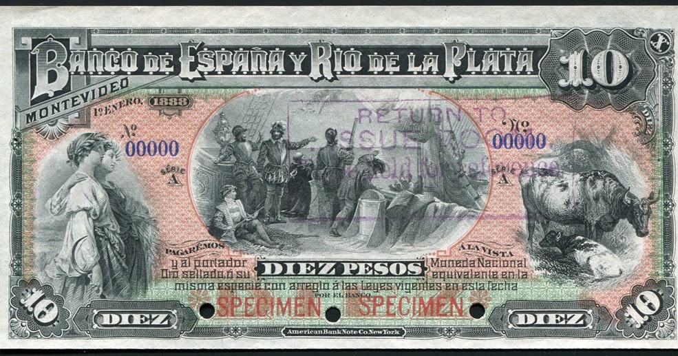 Uruguay Paper Money 10 Pesos Note 1888 Banco De Espana Y