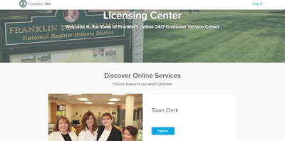 Online service page for Franklin Town Clerk