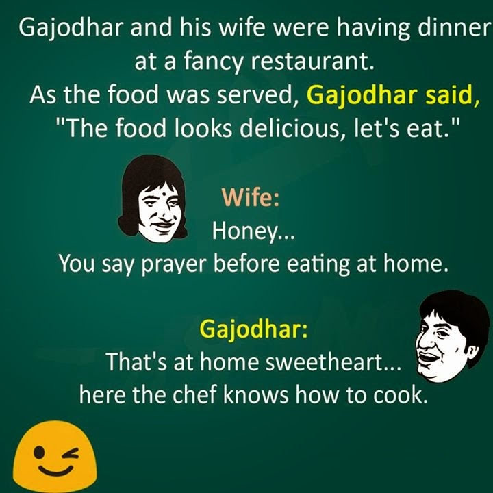 Gajodhar and his wife having dinner