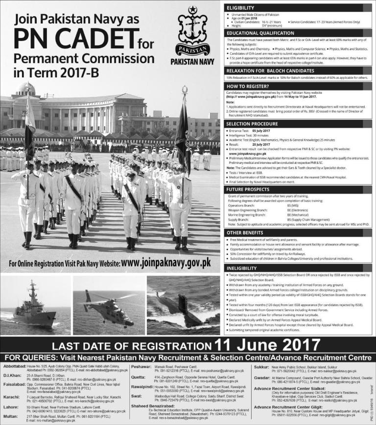 Jobs In Pakistan Navy As PN Cadet 14 May 2017
