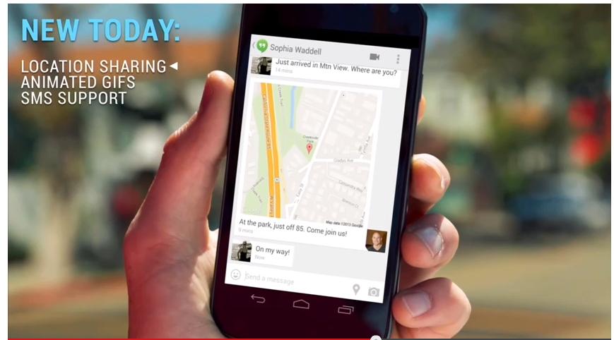 ハングアップアプリで地図が共有出来るように