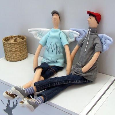 Krysia to uszyła na zamówienie - anielskie chłopaki rozrabiaki - anioł chłopiec tilda