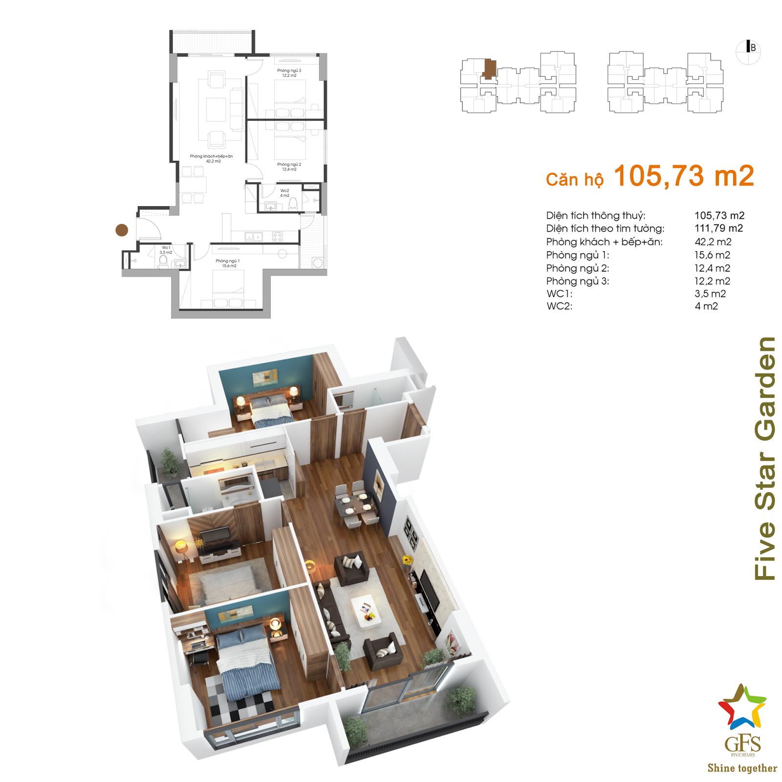 Thiết kế căn hộ 105,73m2 Five Star Kim Giang