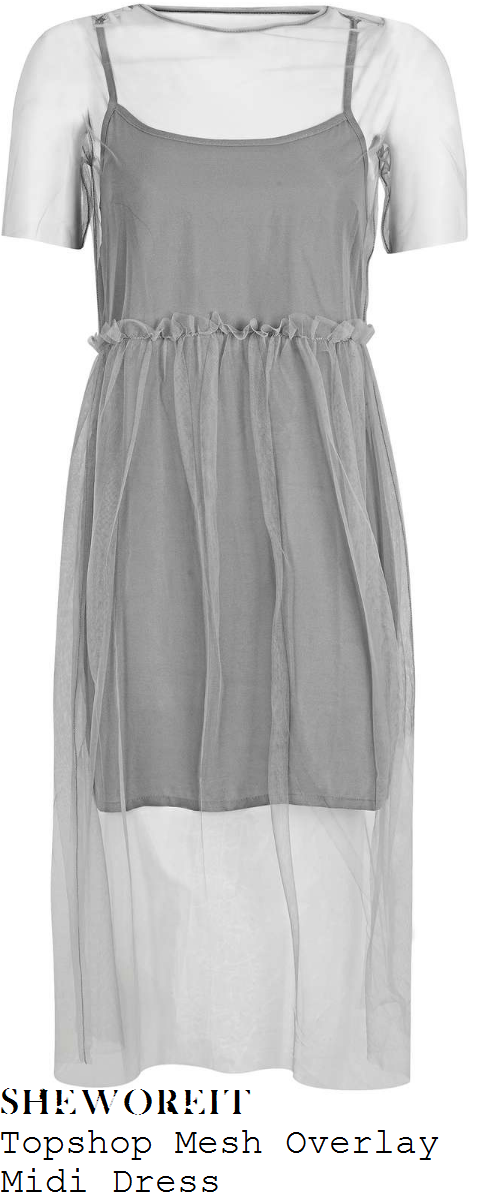 scarlett-moffatt-topshop-light-grey-sheer-mesh-overlay-short-sleeve-ruffle-seam-detail-high-waisted-midi-dress