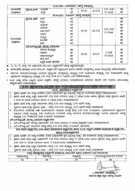 Karnataka SSLC Exam Time Table March/April 2020 Page2