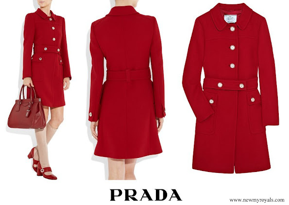 Princess Isabella wore Prada belted wool coat