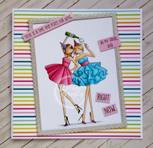 Girly wine time card using Uptown Girls Whitney and Wendy love wine by Stamping Bella