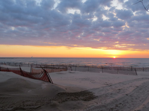 sunset over Lake Michigan with sand fencing