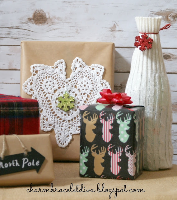 vintage doily deer wrapping paper North Pole chalkboard tag
