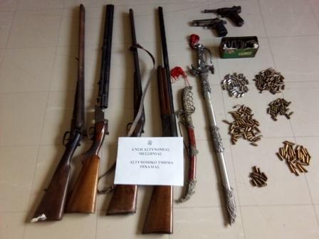 Συνελήφθη 85χρονος στη Μεσσηνία με όπλα, χειροβομβίδες και σπαθιά