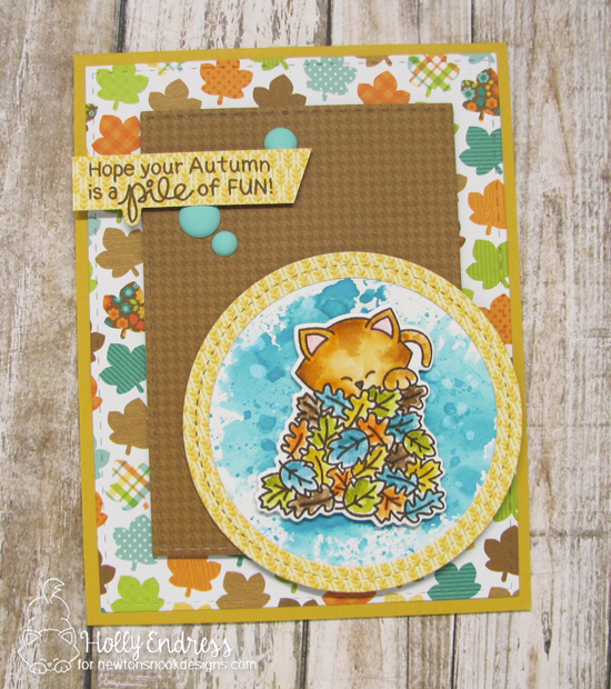 Kitty in Fall Leaves Card by Holly Endress | Autumn Newton Stamp Set by Newton's Nook Designs #newtonsnook #handmade