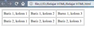 tag tabel dengan atribut cellpadding