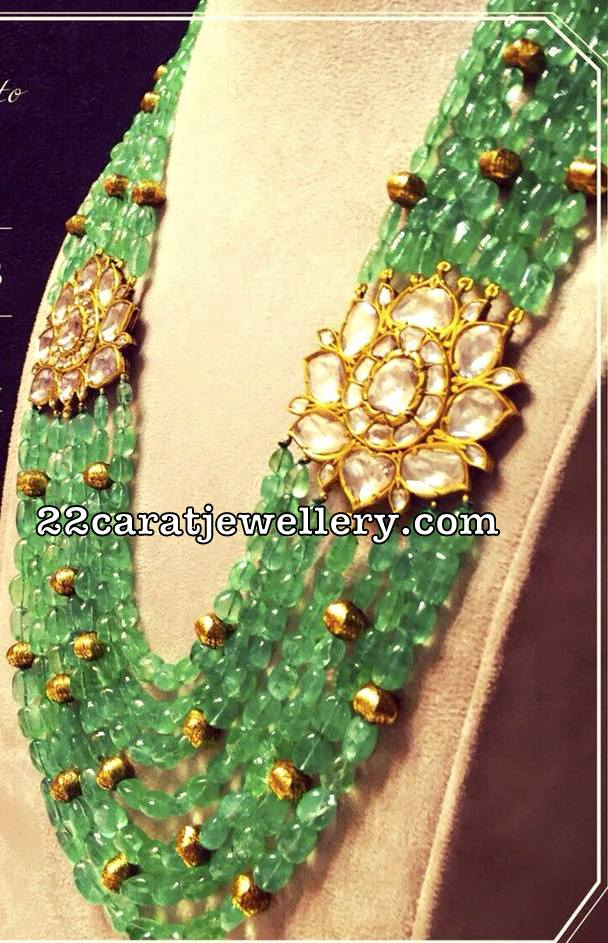 Emerald Beads Chain with Polki Side Pendants