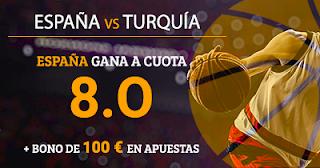 Paston Megacuota 8 Eurobasket: España vs Turquía + 100 euros 10 septiembre