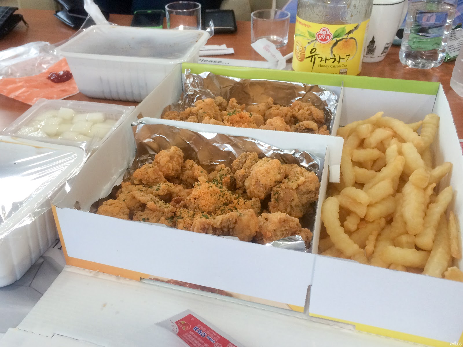 Seoul, Korea - Summer Study Abroad 2014 - Boneless fried chicken 순살 치킨 delivery cheese flavored
