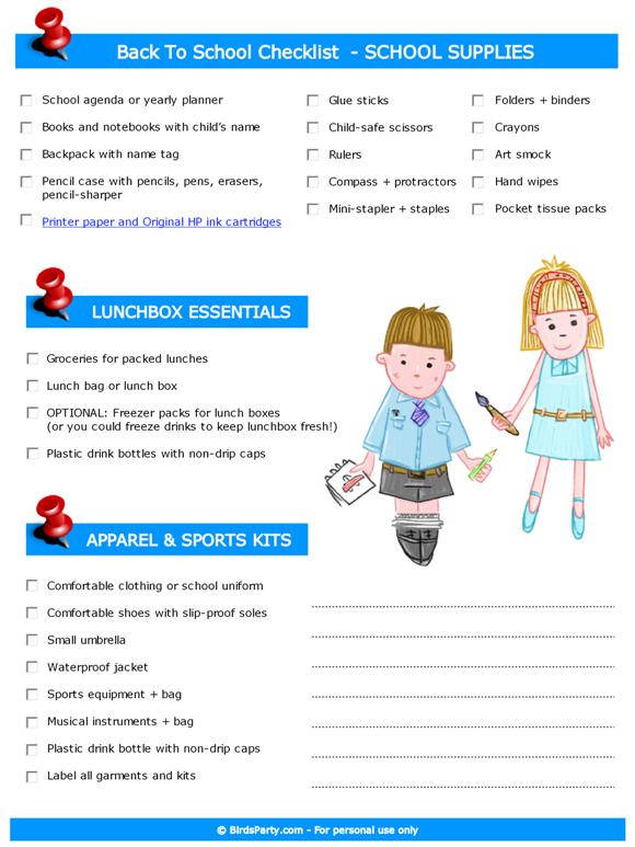 Free Printable Back to School Checklist with HP - BirdsParty.com