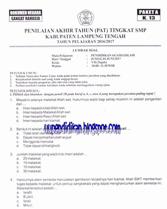 Naskah Soal PAT/ UKK PAI Kelas 7 SMP/MTs Tahun 2018