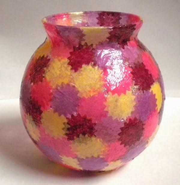 Extreem creatief besparen en meer: glazen vaas of potje versieren met papier &DI86