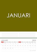 Simple Desain Kalender 2019 Indonesia bulan Januari beserta Hari Libur Nasional